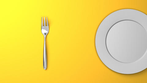 Top View Of Cutlery And Dish On Yellow Background Videos animados