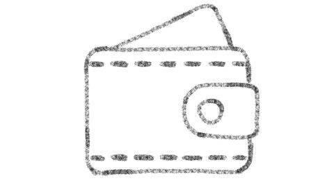 wallet icon designed with drawing style on chalkboard, animated footage ideal Photo