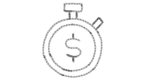 clock and money icon drawn with drawing style on chalkboard, animated footage Photo
