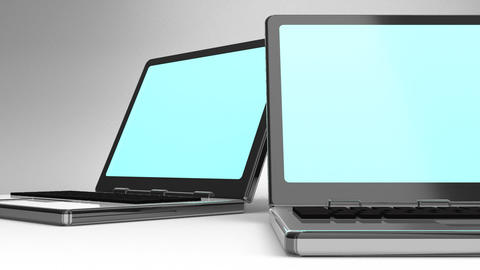 Closeup Of Laptops On White Background CG動画