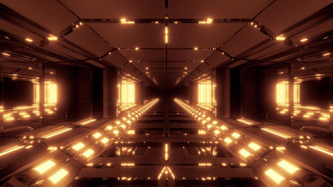 futuristic scifi metal tunnel corridor with nice glowing lights 3d rendering CG動画