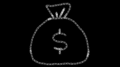 bag icon with money drawn with drawing style on chalkboard, animated footage Photo