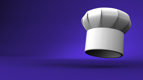 Chef's Hat With Three Stars On Blue Text Space Videos animados