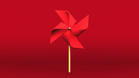 Red Pinwheel On Red Background Videos animados