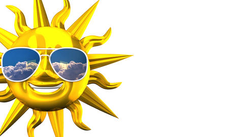 Golden Smiling Sun With Sunglasses On White Text Space Animation