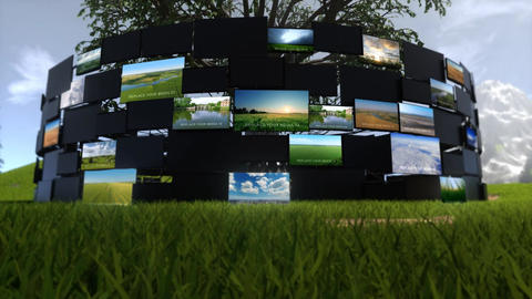 Video Screens On Nature After Effects Template