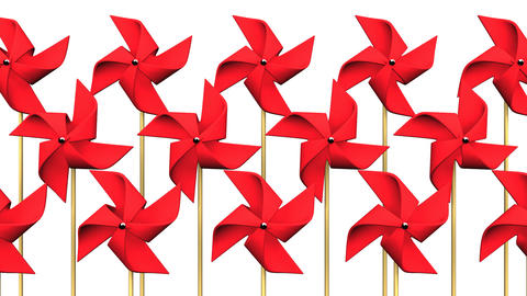 Red Pinwheels On White Background Videos animados