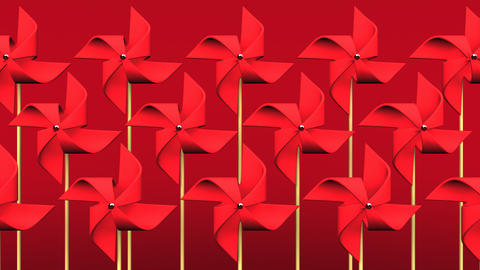 Red Pinwheels On Red Background Videos animados