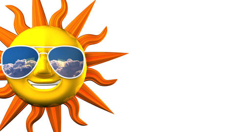 Smiling Sun With Sunglasses On White Text Space Videos animados
