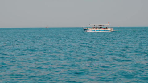 Speed boat floating on sea cruise on horizon background. Tourist people sailing Live Action