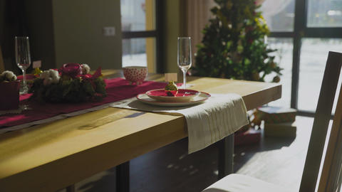 Beautiful Christmas table with Christmas tree on baclgrounds Archivo