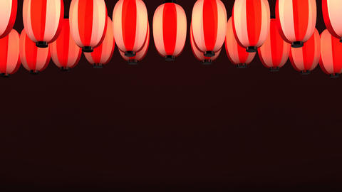 Red White Paper Lantern On Red Background Videos animados