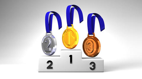 Medals And Podium On White Background Animation