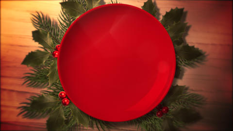Animated close up Christmas green tree branches and plate for candy on wood background Animation
