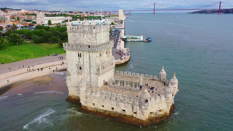 Belem Tower in Lisbon is a famous landmark in the city Footage