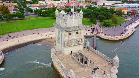Flight around famous Belem Tower in Lisbon Footage