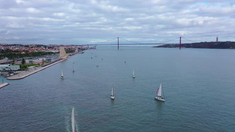 River Tejo also called Tagus river in Lisbon with famous 25th April Bridge Footage