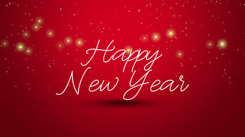 Animated close up Happy New Year text on red background Animation