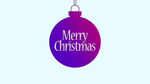 Animated close up Merry Christmas text, purple ball with into text Animation