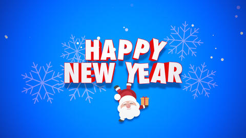 Animated close up Happy New Year text and Santa Claus with gift boxes on blue background Animation