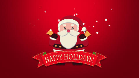 Animated closeup Happy Holidays text, Santa Claus with bells Animation