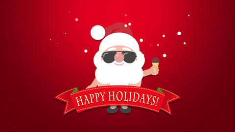 Animated close up Happy Holidays text, Santa Claus with ice cream Animation