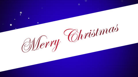 Animated closeup Merry Christmas text on blue background Animation