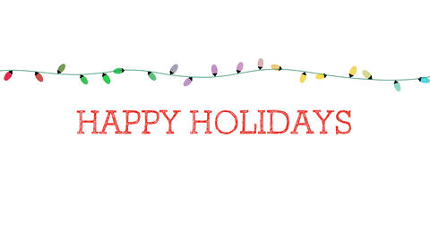 Animated closeup Happy Holidays text, colorful garland on white background Animation