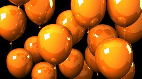 Orange Balloons On Black Background Animation
