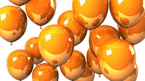 Orange Balloons On White Background Animation