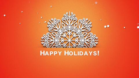 Animated closeup Happy Holidays text, white snowflakes on orange background Animation