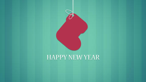 Animated closeup Happy New Year text and sock on green background Animation