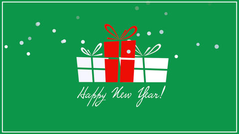 Animated closeup Happy New Year text, three gift boxes on green background Animation