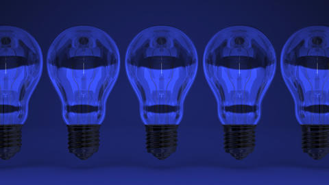 Some Electric Bulbs On Blue Background Animation