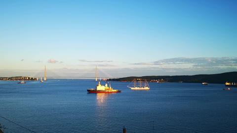 Seascape with ships and the sailing ship Hope Live Action