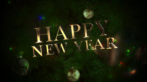 Animated closeup Happy New Year text, colorful balls and green tree branches on shiny background Animation