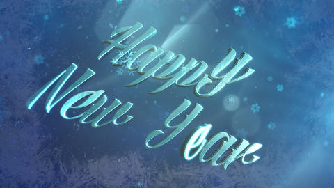 Abstract blue snow falling and animated closeup Happy New Year text on shiny background Animation