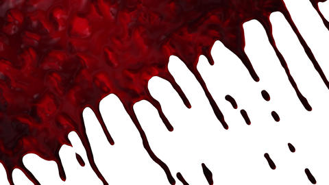 Blood dripping down diagonal transition on white Animation