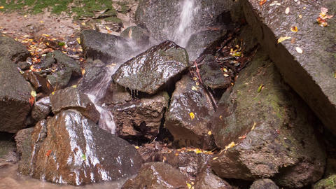 Creek with water flowing between the rocks Live Action