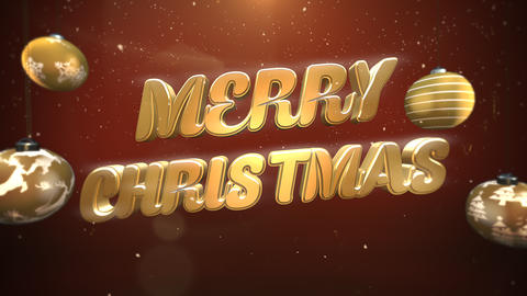Animated closeup Merry Christmas text, white snowflakes and gold balls on retro background Animation