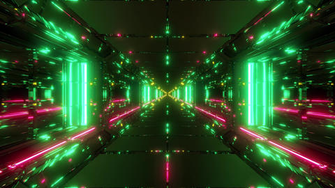 clean futuristic scifi space hangr tunnel corridor with hot reflections 3d Animation