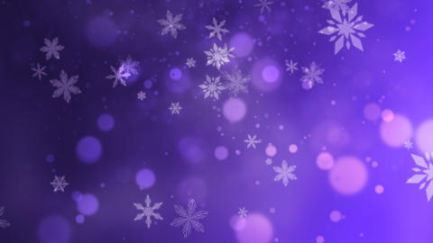 Abstract purple bokeh and snowflake falling. Happy New Year and Merry Christmas shiny background Animation