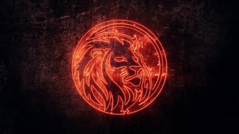 Fire Lion Intro Logo with Reveal Effect Background Animation