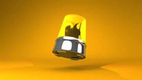 Jumping Yellow Warning Light On Yellow Background Animation
