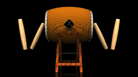 Loopable Asian Drum And Sticks On Black Background Animation