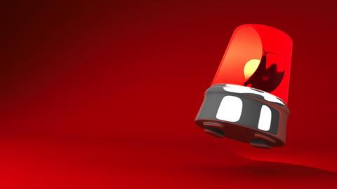 Jumping Red Warning Light On Red Text Space Animation