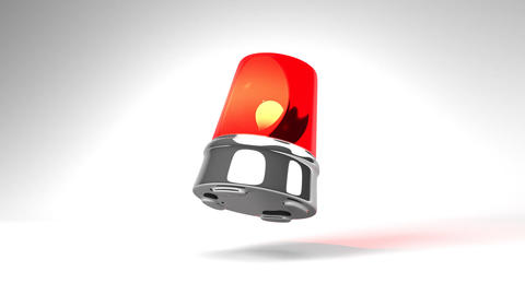 Jumping Red Warning Light On White Background Animation