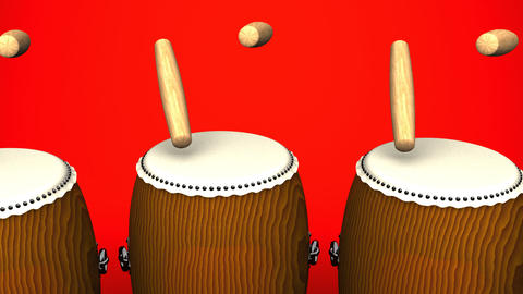 Loopable Asian Drums On Red Background Animation