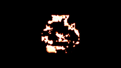 Symbol print burns out of transparency, then burns again. Alpha channel Premultiplied - Matted with Animation