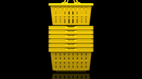 Yellow Shopping Baskets On Black Background Videos animados